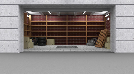 Front View of a Garage 3D Interior with Opened Roller Door photo