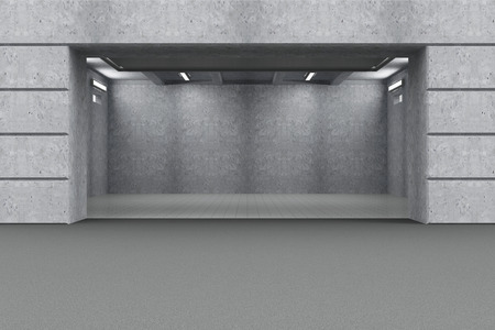 Front View of Empty Garage 3D Interior with Opened Roller Door photo