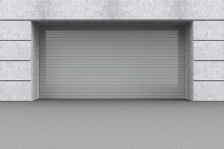 Front View of a Garage 3D Interior with Closed Roller Door photo