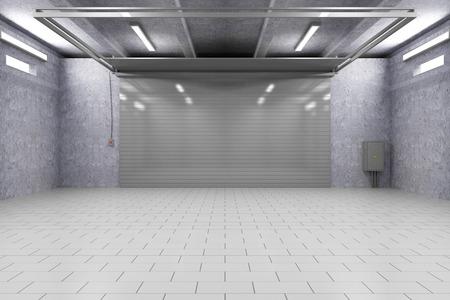 Empty Garage 3D Interior with Closed Roller Door 스톡 콘텐츠
