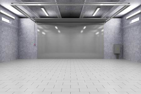 garage on house: Empty Garage 3D Interior with Closed Roller Door Stock Photo