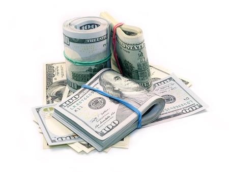 Bundle of Dollar Bills isolated on white background photo