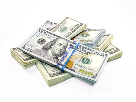 白い背景に分離されたドル紙幣のスタック