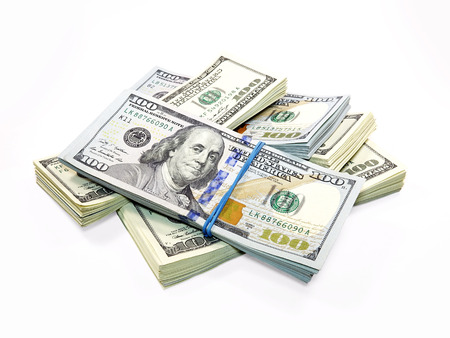 signos de pesos: Pila de billetes de d�lar aislados sobre fondo blanco