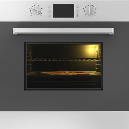 cooktop: Close-up View of Oven with Closed Door and Pizza on a Tray Inside
