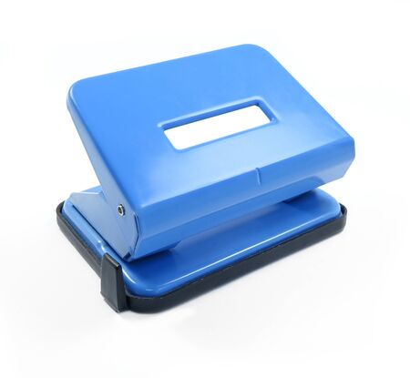 punch press: Blue office paper hole puncher isolated on white background