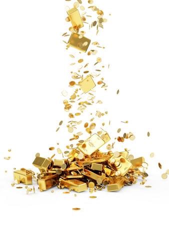Falling Treasure. Golden Bars, Coins and Golden Pieces isolated on white background