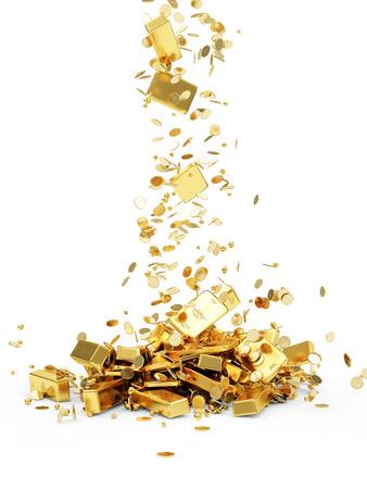 Vallende Treasure. Gouden baren, munten en gouden stukken op een witte achtergrond Stockfoto