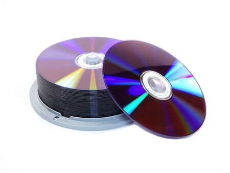 recordable media: CD Stack isolated on white background Stock Photo