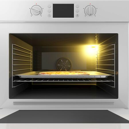 Close-up View of Oven with Open Door and Pizza on a Tray Inside. Stock Photo