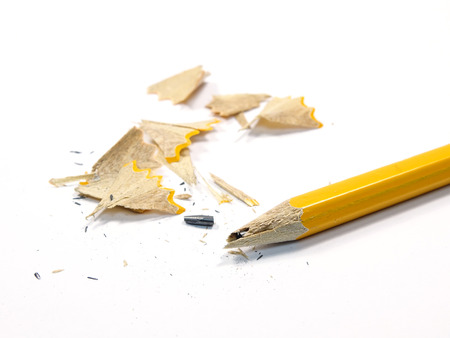 sharpened: Sharpened Pencil with a Broken Tip on a white background