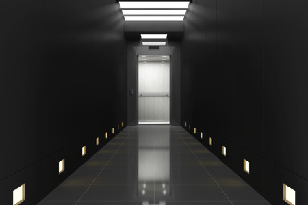 Modern Elevator with Opened Doors in Black Corridor Interior