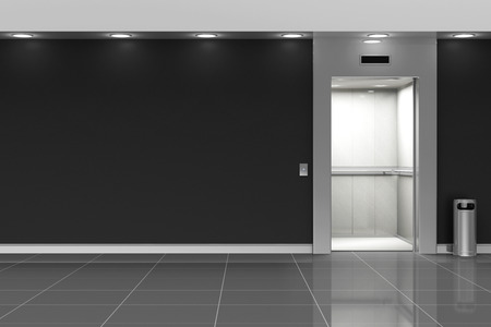 Modern Elevator Hall Interior with Opened Doors Stock Photo
