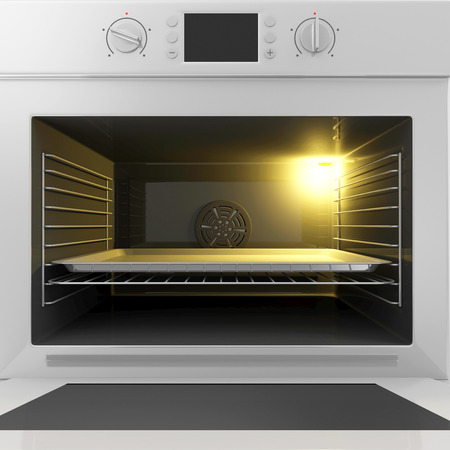 cooktop: Close-up View of Oven with Open Door and Empty Tray Inside. Food Preparing Concept