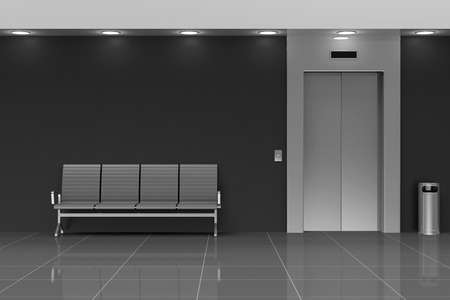 壁の近くの席を持つモダンなエレベーター ホール インテリア
