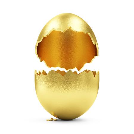 Xito Símbolo o feliz concepto de Pascua. Vaciar Broken oro grande huevo aislado en el fondo blanco Foto de archivo - 37749387