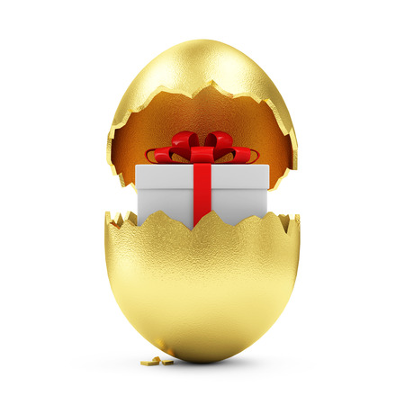 egg white: Happy Easter Concept. Big Broken Golden Egg with Gift Box Inside isolated on white background