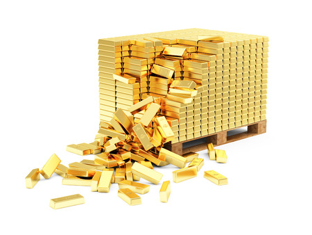 gold bars: Business, Financial, Bank Gold Reserves Concept. Stack of Golden Bars on a Wooden Pallet isolated on white background Stock Photo