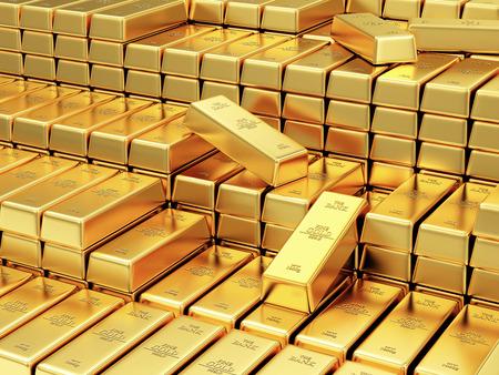 D'affaires, financier, Banque réserves d'or Concept. Pile de Bars or dans le Contexte de la Banque Vault Résumé