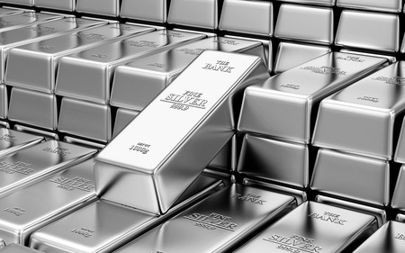 Business, Financial, Bank Silver Reserves Concept. Stack of Silver Bars in the Bank Vault Abstract Background Archivio Fotografico