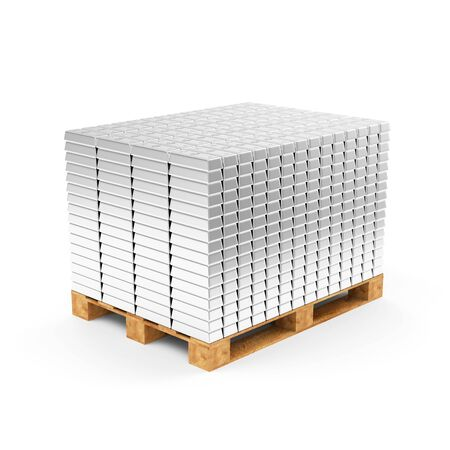 silver bars: Business, Financial, Bank Silver Reserves Concept. Stack of Silver Bars on a Wooden Pallet isolated on white background