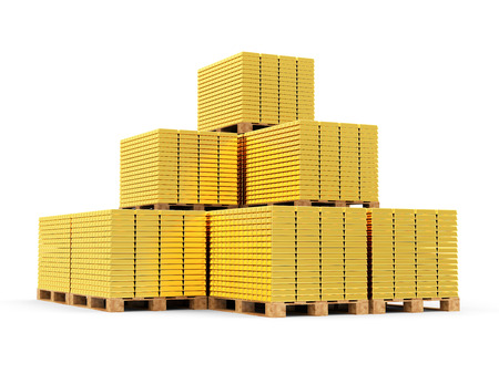 reserves: Business, Financial, Bank Gold Reserves Concept. Stack of Golden Bars on a Wooden Pallets isolated on white background