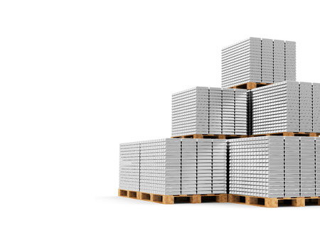 reserves: Business, Financial, Bank Silver Reserves Concept. Stacked Silver, Platinum or Aluminum Bars on a Wooden Pallets isolated on white background with place for Your text