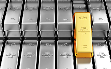 futures: Business, Financial, Bank Gold Reserves Concept. Stack of Silver and Golden Bars in the Bank Vault