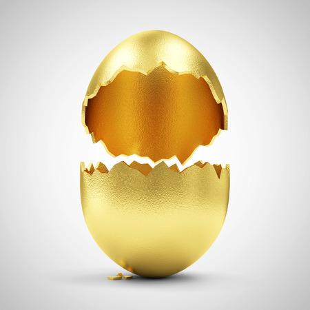 Success Symbol or Happy Easter Concept. Empty Broken Big Golden Egg on gradient background