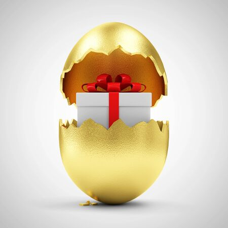 golden egg: Happy Easter Concept. Big Broken Golden Egg with Gift Box Inside on gradient background Stock Photo