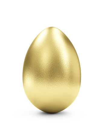 Success Symbol or Happy Easter Concept. Big Golden Egg isolated on white background Zdjęcie Seryjne