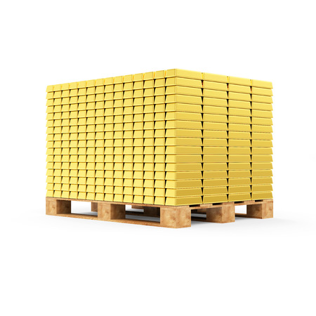 Business, Financial, Bank Gold Reserves Concept. Stack of Golden Bars on a Wooden Pallet isolated on white background photo