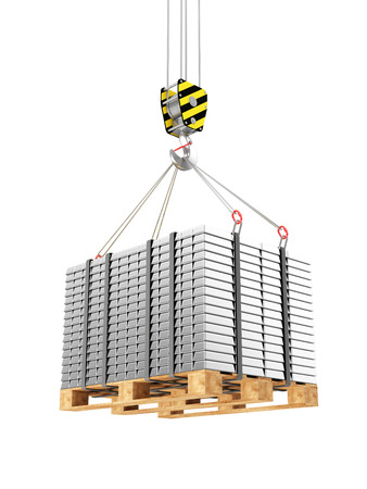 reserves: Business, Financial, Bank Silver Reserves Concept. Crane Hook with Stacked Silver, Platinum or Aluminum Bars on a Wooden Pallet isolated on white background Stock Photo