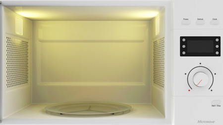 Food Preparing Concept. Close-up View of an Empty Open Microwave Oven with place for Your object
