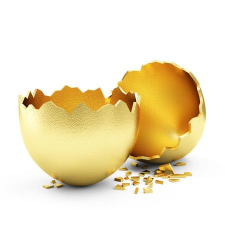 成功のシンボルまたはハッピー イースター概念。空が壊れて大きな黄金の卵白い背景に分離 写真素材