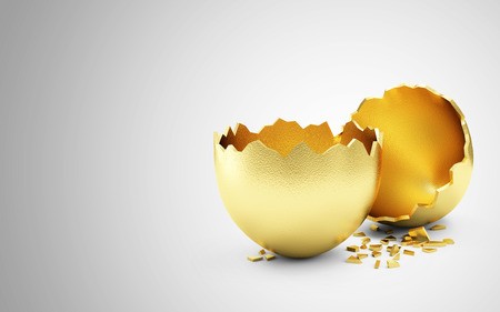 golden egg: Success Symbol or Happy Easter Concept. Empty Broken Big Golden Egg on gradient background with place for Your text