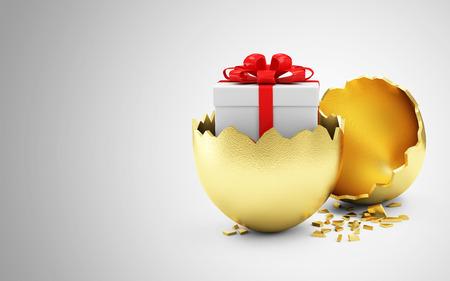 Happy Easter Concept. Big Broken Gouden Ei met Gift Box Inside op verloop achtergrond met plaats voor uw tekst Stockfoto