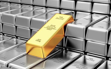 luxo: Negócios, Financeira, Banco reservas de ouro Concept. Pilha de prata e barras douradas no Banco Vault