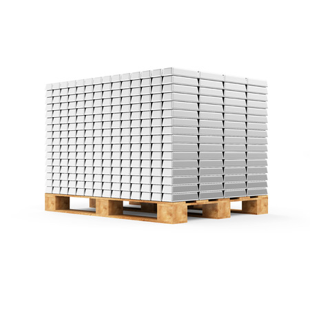reserves: Business, Financial, Bank Silver Reserves Concept. Stack of Silver Bars on a Wooden Pallet isolated on white background