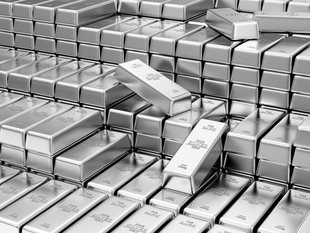 futures: Business, Financial, Bank Silver Reserves Concept. Stack of Silver Bars in the Bank Vault Abstract Background Stock Photo