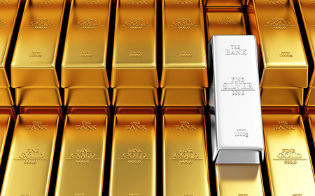 futures: Business, Financial, Bank Gold Reserves Concept. Stack of Golden and Silver Bars in the Bank Vault