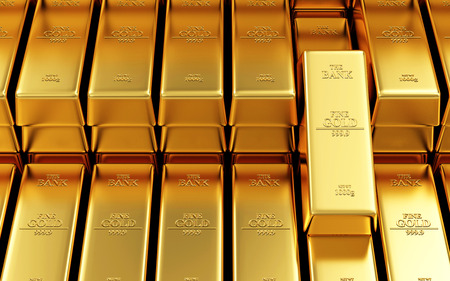 Business, Financial, Bank Gold Reserves Concept. Stack of Golden Bars in the Bank Vault Abstract Background