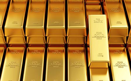 luxo: Negócios, Financeira, Banco reservas de ouro Concept. Pilha de barras de ouro no fundo abstrato Bank Vault