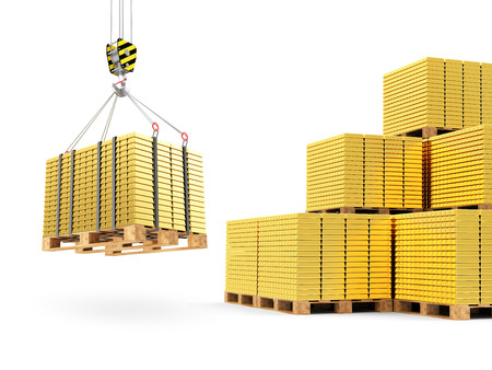 reserves: Business, Financial, Bank Gold Reserves Concept. Crane Hook with Stacked Golden Bars on a Wooden Pallets isolated on white background