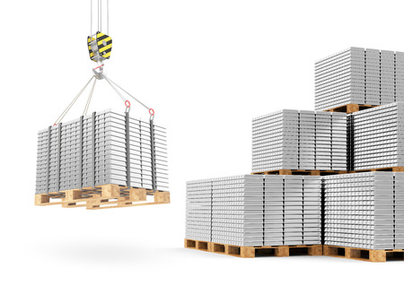 reserves: Business, Financial, Bank Silver Reserves Concept. Crane Hook with Stacked Silver, Platinum or Aluminum Bars on a Wooden Pallets isolated on white background