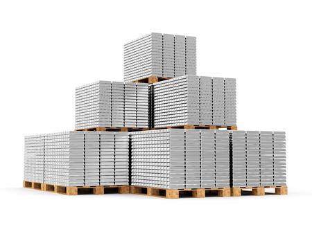 platinum: Business, Financial, Bank Silver Reserves Concept. Stacked Silver, Platinum or Aluminum Bars on a Wooden Pallets isolated on white background