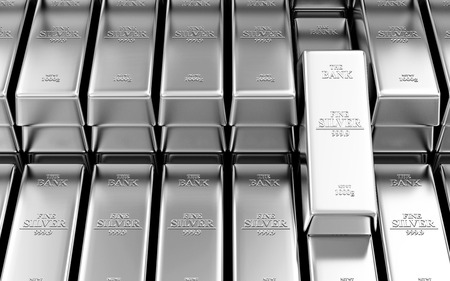 Business, Financieel, Bank Silver Reserves Concept. Stack van Silver Bars in de Bank Vault Samenvatting Achtergrond Stockfoto