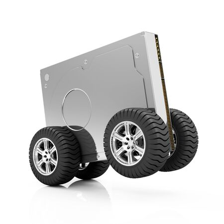 megabyte: Highspeed HDD or Hardware Delivery Concept. Modern Hard Disk Drive on Wheels isolated on white background