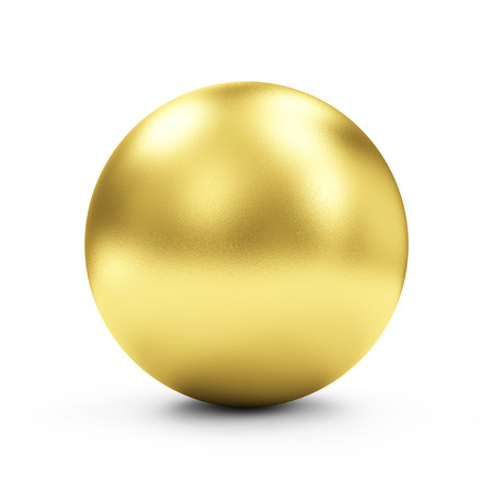 Shiny Big Golden Sphere or Button isolated on white background