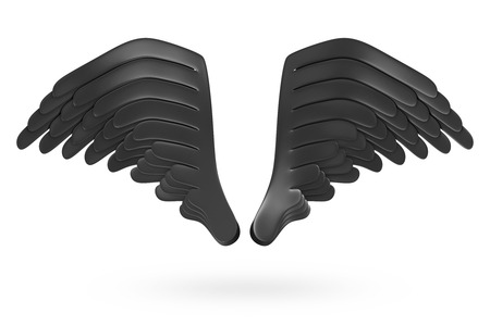 darkness: Darkness Black Wings isolated on white background Stock Photo